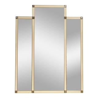 Large Italian Mid Century Three Section Mirror For Sale