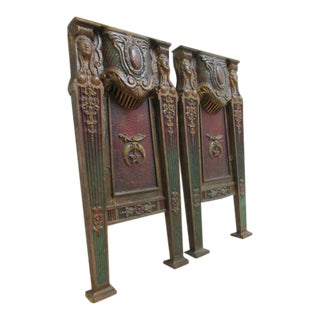 Victorian Salvage Cast Iron Theater Seat Legs - A Pair For Sale