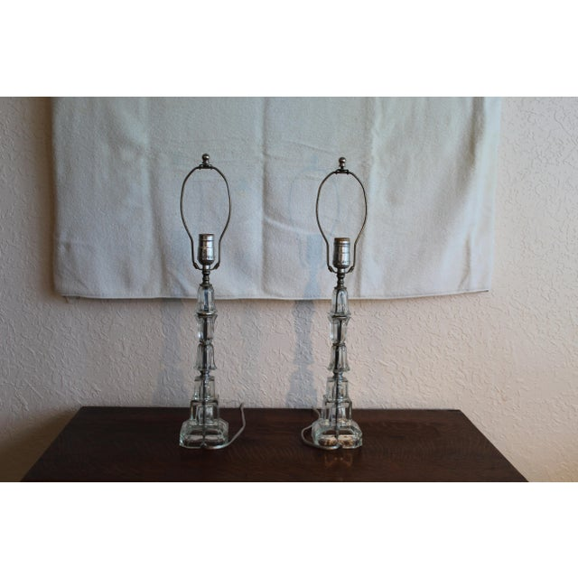 1940s Art Deco Stacked Crystal Table Lamps A Pair Chairish