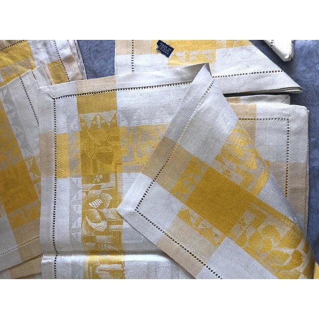 Yellow Vintage Damask Linen Napkins - Set of 12 For Sale - Image 8 of 13