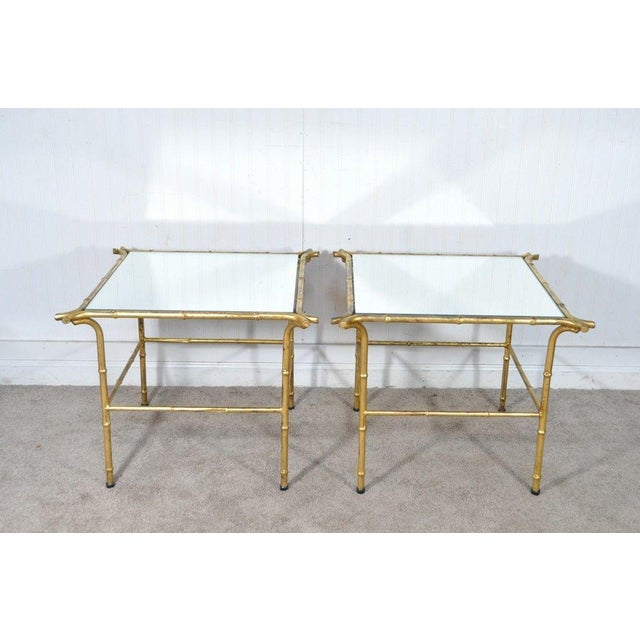 Hollywood Regency Pair Vintage Italian Hollywood Regency Faux Bamboo Gold Gilt Mirror Side Tables For Sale - Image 3 of 12