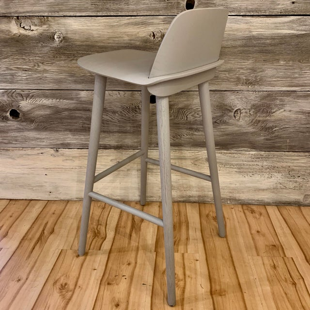 Gray Modern David Geckeler Muuto Nerd Molded Plywood Barstool For Sale - Image 8 of 13