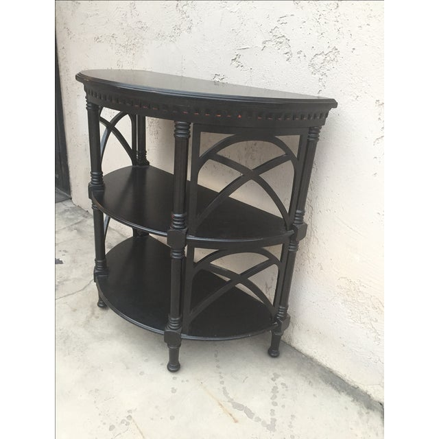 Black Wood Bamboo Style Demilune Entry Table - Image 4 of 7