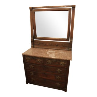 19th Century Antique Marble Top Dresser For Sale