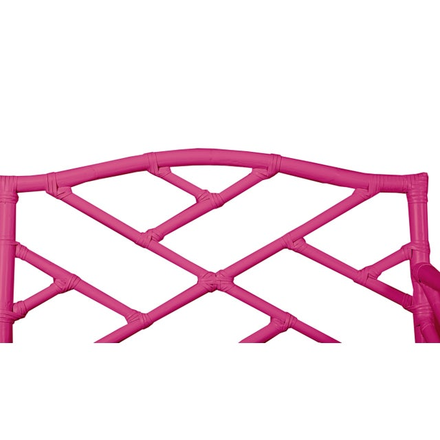 Not Yet Made - Made To Order Chippendale Bench - Bright Pink For Sale - Image 5 of 6