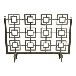 Cast Iron Geometric Fireplace Screen For Sale