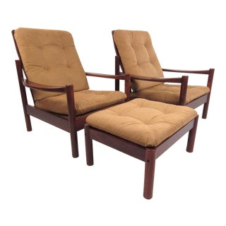 Pair Mid-Century Style Danish Teak Lounge Chairs With Ottoman For Sale