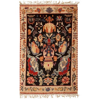 Early 20th Century Vintage Swedish Rya Rug- 5′3″ × 8′ For Sale