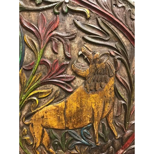 Traditional Carved Wood Plaque Depicting Animals For Sale - Image 3 of 10