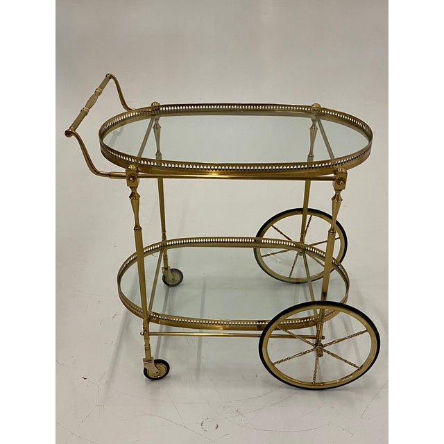 Mid-Century Modern Oval Brass & Glass Bar Cart For Sale - Image 9 of 12
