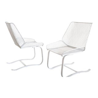 1960s Mid-Century Modern Metal Mesh Cantilever Bouncer Patio Chairs - a Pair For Sale