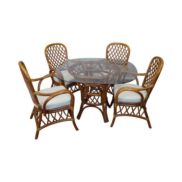 South Sea Rattan Collection Glass Top Dining Set For Sale