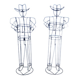 Metal Cowboy Shaped Plant Stands - A Pair For Sale