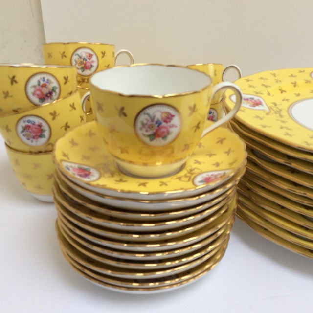 Vintage Spode China Set Yellow With Flowers - Set of 33 - Image 8 of 9