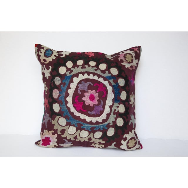 Tribal Vintage Handmade Needlework Suzani Throw Pillow Cover For Sale - Image 3 of 13