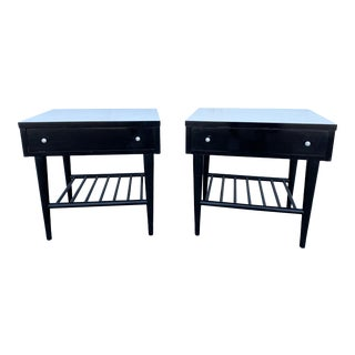 Mid Century Modern American of Martinsville Black Lacquered Nightstands - a Pair For Sale