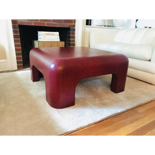 Wood Linen-Wrapped Oxblood-Red Cocktail Table After Karl Springer For Sale - Image 7 of 8