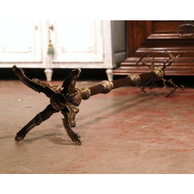 Early 20th Century Italian Gilt Brass Standing Hall Tree With Swivel Top For Sale - Image 9 of 11