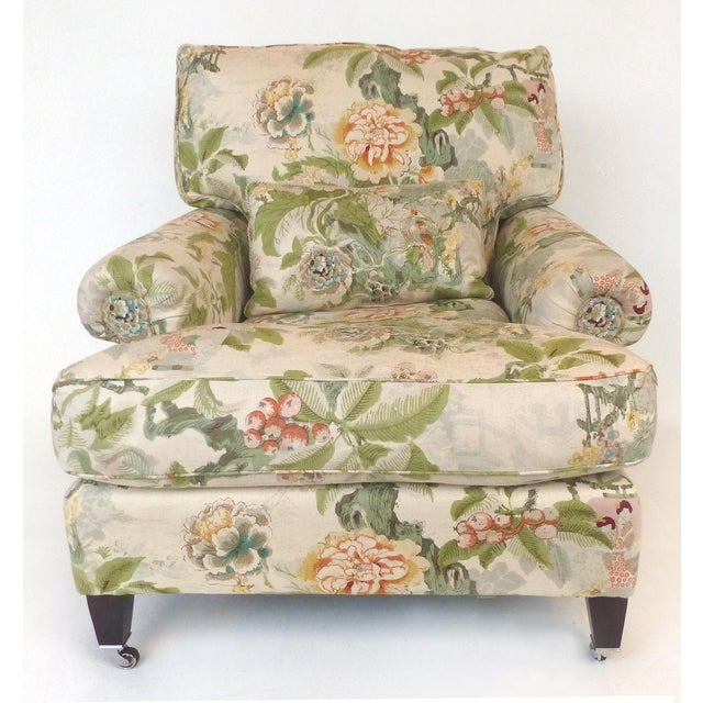 Offered for sale is an overscaled pair of upholstered armchairs with deep, comfortable seats and plush loose down filled...