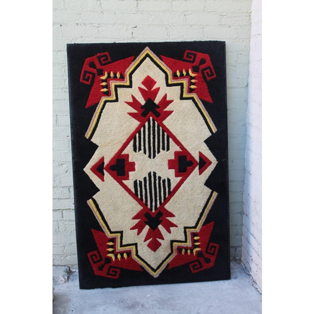 1930s mounted geometric hand hooked rug. Berlin work, embroidery style. Professionally sewn on linen and mounted on...