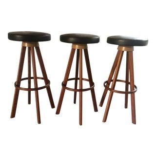 1960s Hans Olsen for Frem Rojle Denmark Bar Stools - Set of 3 For Sale