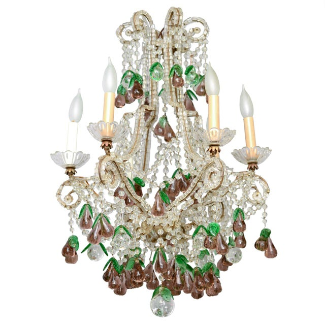 Purple Italian Maria Theresa Six-Light Chandelier Adorned with Amethyst Glass Pears For Sale - Image 8 of 8