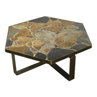Stone Slate & Iron Coffee Table For Sale