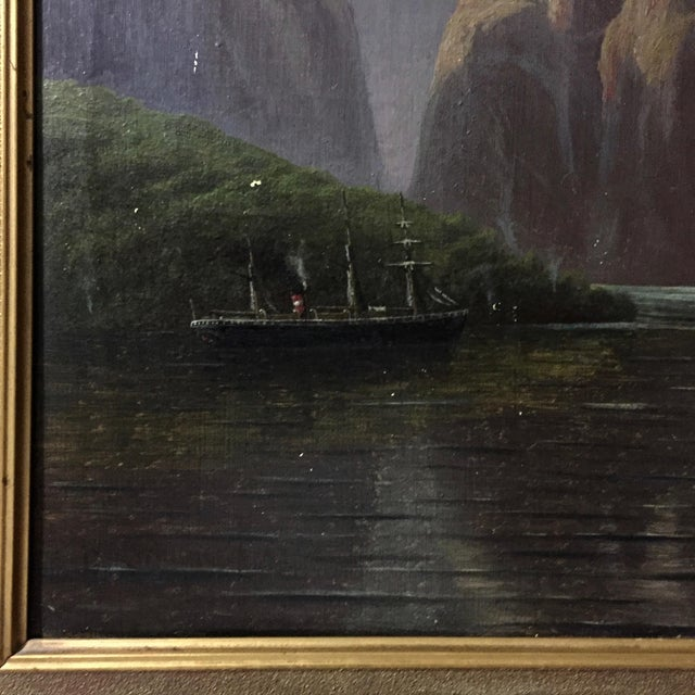 C1873 Danish Painting of a Waterfall and Steamer For Sale In New York - Image 6 of 9
