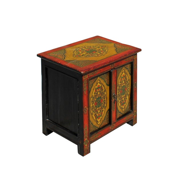 Chinese Multi-Color Tibetan Flower Motif Small Table Cabinet For Sale - Image 4 of 7
