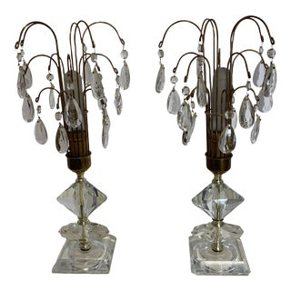 1940s Crystal Torchiere Table Lamps - a Pair For Sale