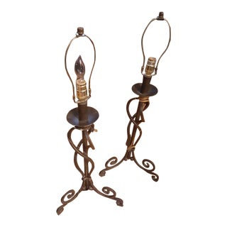 1970s Heavy Vintage Wrought Iron Lamps With Scroll Legs - a Pair For Sale