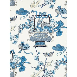 Sample, Scalamandre Shanghai Blossoms, China Blue Fabric For Sale