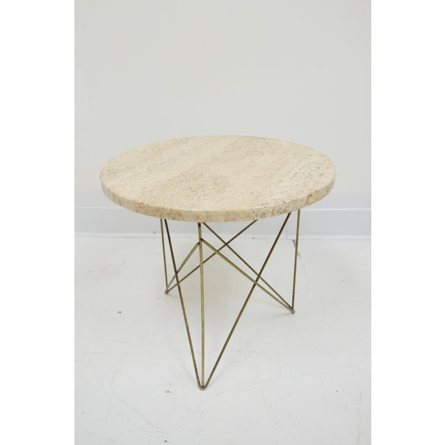 1950s 1950s Mid-Century Modern Martin Perfit for Brancusi Travertine Top Wire Base Side Table For Sale - Image 5 of 5