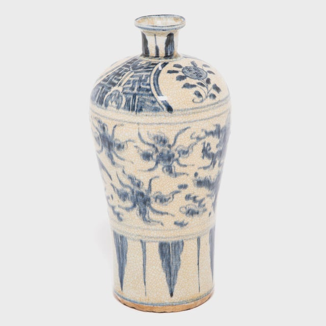 Chinese Crackled Blue and White Vase For Sale - Image 4 of 7