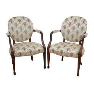 English Style Mahogany Armchairs - A Pair