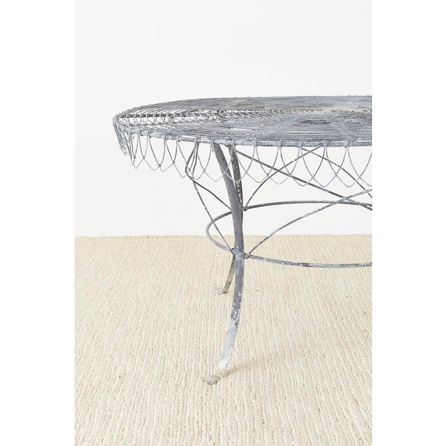 Metal French Wrought Iron and Wire Garden Dining Table For Sale - Image 7 of 13