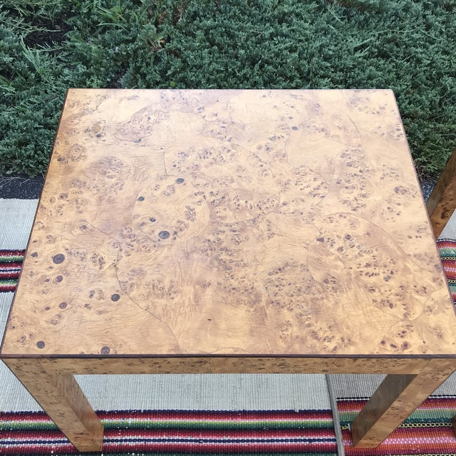 1970 S Italian Burl Olive Wood Patch Work Veneer Side Tables A Pair