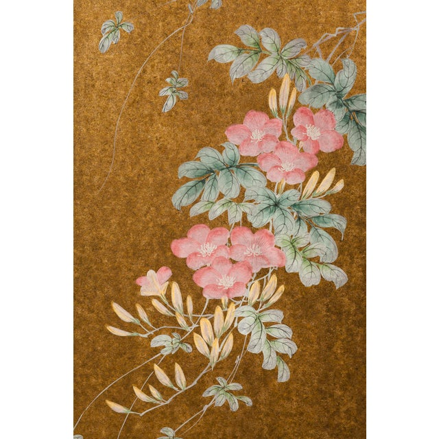"""Lawrence & Scott """"Sparrows With Cherry Blossom"""" 4-Panel Paint on Gold Foil Chinoiserie Hanging Screen For Sale - Image 4 of 11"""