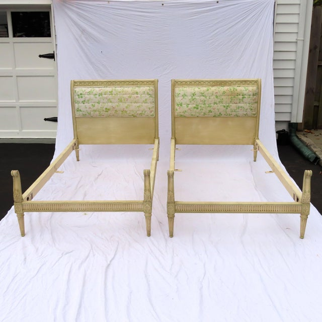 Pair Louis XVI Style Twin Beds Upholstered Headboard Antique Painted Solid Wood For Sale - Image 13 of 13