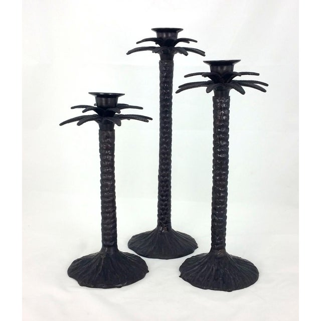 Set/3 Bronze Palm Tree Candle Holders. A great decor set!