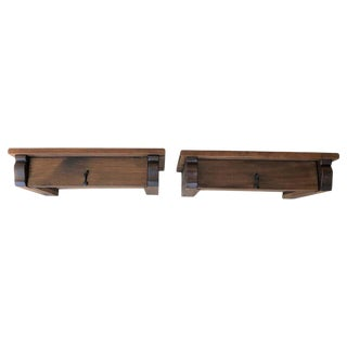 20th Century Pair of Wall Hang Floating Tables With Drawer and Iron Hardware For Sale