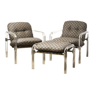 Jeff Messerschidt Pipe Line Series Lucite Chair and Ottoman Set, Circa 1979 For Sale