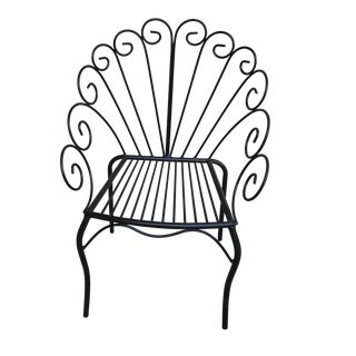 Black Swirled Metal Patio Chairs, a Pair For Sale