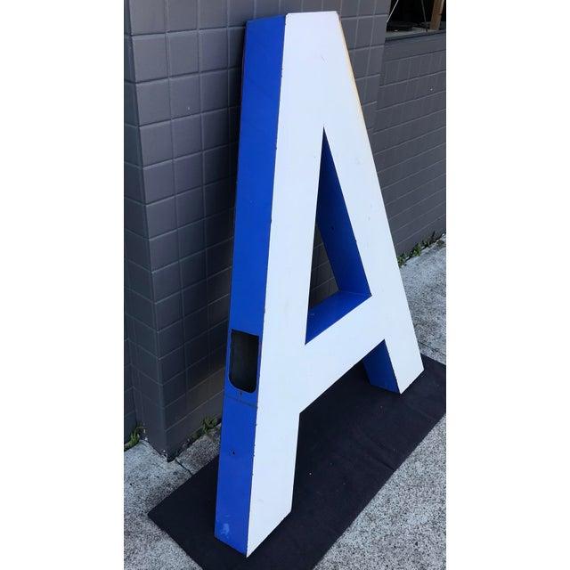 """Mid-Century Modern Large Vintage Blue & White Enamel Metal """"L"""" Building Signage For Sale - Image 3 of 12"""