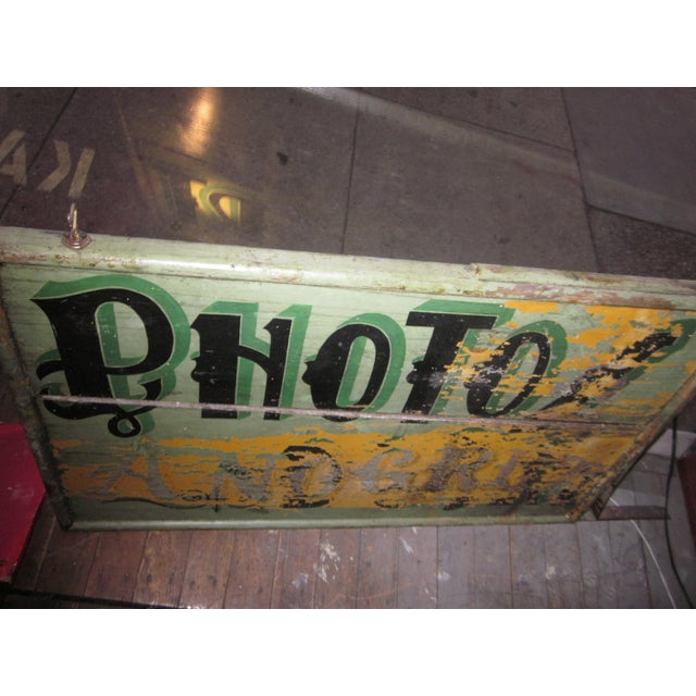 "1920s Classic French Art Deco Sage Green Painted 2-Sided ""Photos D'Art"" Shop Sign For Sale - Image 11 of 13"