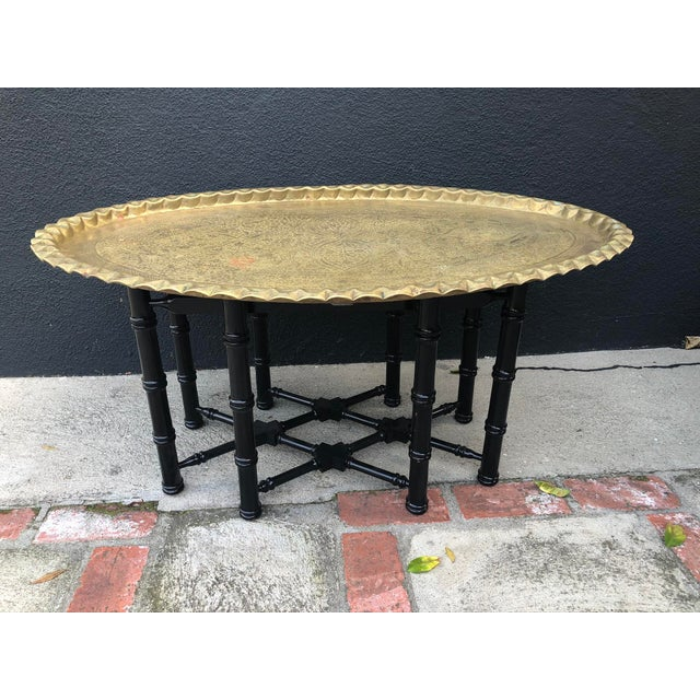 Metal Vintage Brass Turkish Tray Table With Black Faux Bamboo Base For Sale - Image 7 of 7