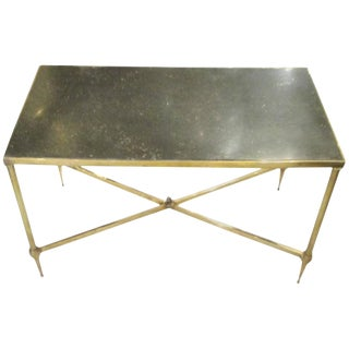 Bagues Brass Coffee Table With Marble Top For Sale