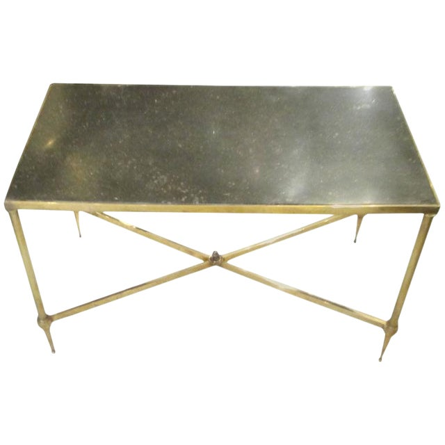 Marble Top Brass Coffee Table.Bagues Brass Coffee Table With Marble Top