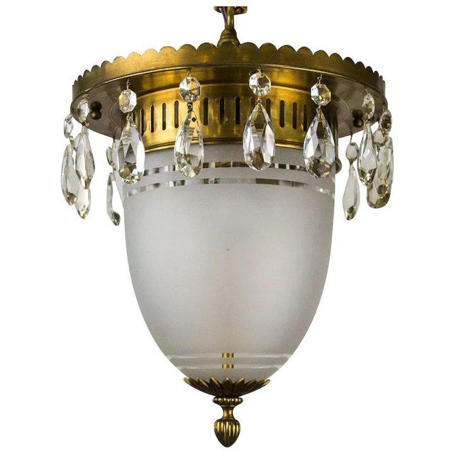 Metal 1930's Brass Pendant with Frosted Glass Dome and Crystal Accents For Sale - Image 7 of 7