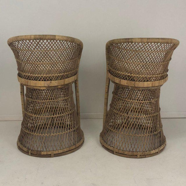 Wicker Woven Rattan Wicker Barstools - a Pair For Sale - Image 7 of 8